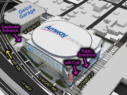 amway center parking and employee entry stella luca